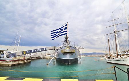 PALAIO FALIRO GREECE, DECEMBER 16 2015: GeorgeGeorgios Averof historical battleship, operates as a museum at Palaio Faliro Greece. Editorial use. Editorial
