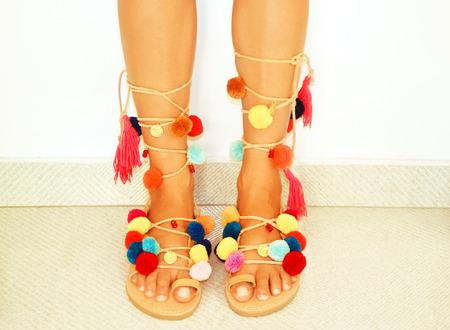 pom: greek leather bohemian sandals with pom pom
