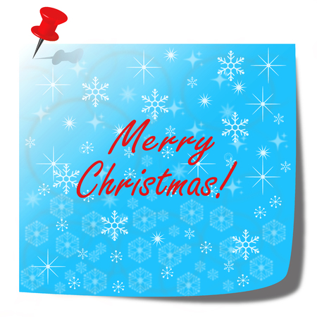 merry christmas blue note paper card - christmas illustration concept