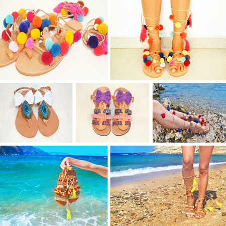 photo collage of bohemian greek sandals - fashion accessories advertisement