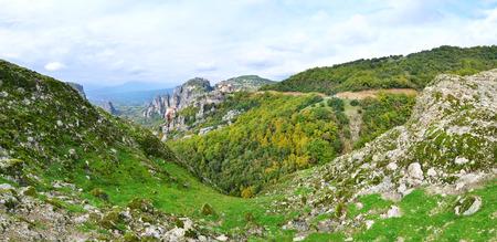 kalabaka: panoramic photo of Meteora Greece Stock Photo