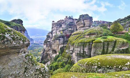 kalabaka: landscape of Meteora Greece - Orthodox religious places Stock Photo