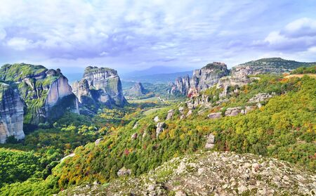 landscape of Meteora Greece - Orthodox religious places Stock Photo