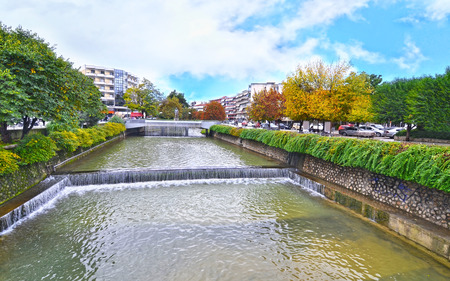 thessaly: Lithaios river flowing through the city of Trikala Thessaly Greece