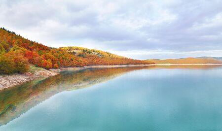 thessaly: autumn landscape of lake Plastira Thessaly Greece