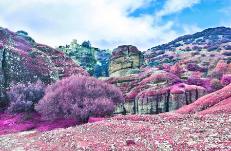 kalabaka: infrared landscape of Meteora Greece - Orthodox religious places Stock Photo