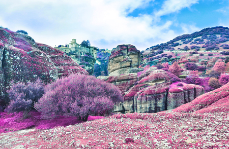 infrared landscape of Meteora Greece - Orthodox religious places Stock Photo