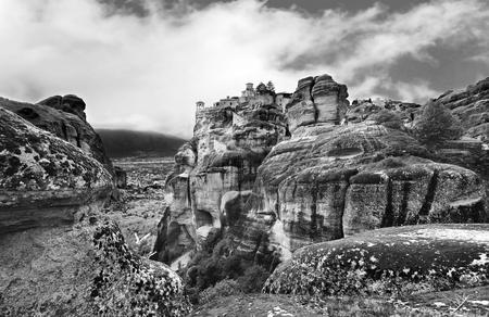kalabaka: black and white photography of Meteora Kalambaka Greece - Orthodox religious places