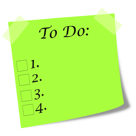 to do list written on green post it illustration - duties list concept Stock Photo