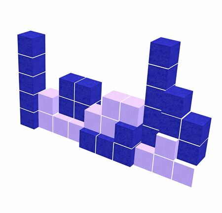 video game: puzzle video game - geometric blue 3D shapes - think creative game