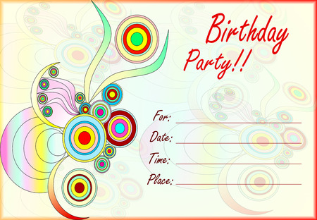 birthday party kids: colorful birthday party invitation for kids with empty lines for text Stock Photo
