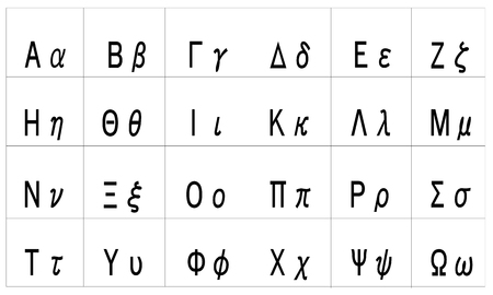 greek alphabet vector with uppercase and lowercase letters