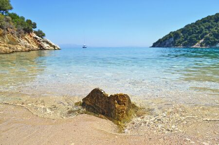 ionio: close up of a rock inside the sea at Ithaca island Greece Stock Photo