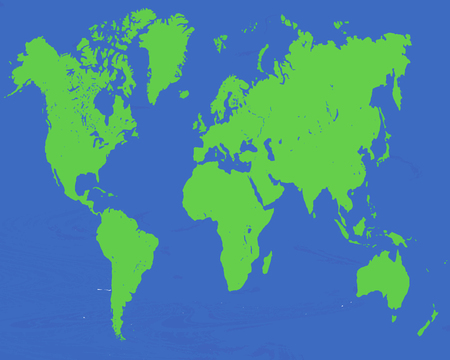 2d world map vector - blue and green colors Ilustração