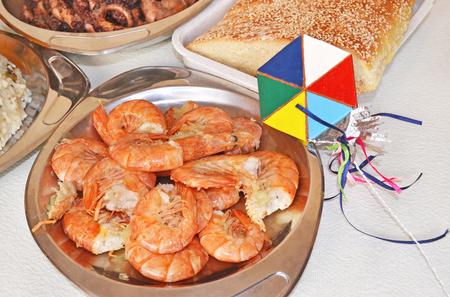 Clean Monday lenten food - roasted shrimps - decorative kite