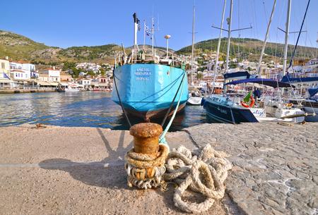 HYDRA GREECE, JUNE 03 2016: sailboats and ships at Hydra island Saronic gulf port Greece. Editorial use.