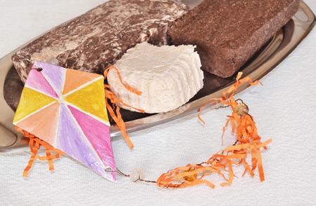 traditional greek halvah - Clean Monday food - decorative kite Stock Photo