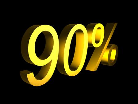 golden ninety percent on black background 3d render - sales financial concept