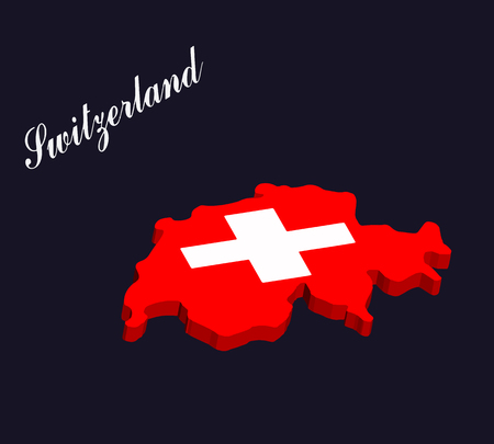 Switzerland 3d map vector with the swiss flag on dark blue background
