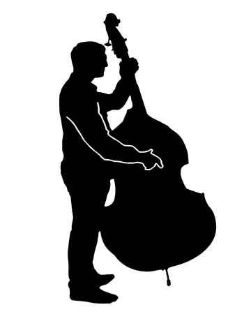 cellos: black silhouette vector of a musician playing a big cello isolated on white background