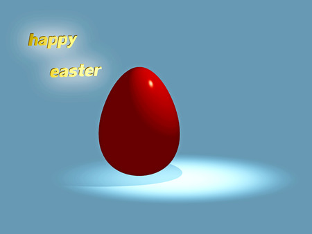 orthodoxy: happy Easter 3d red egg illustration with blue background