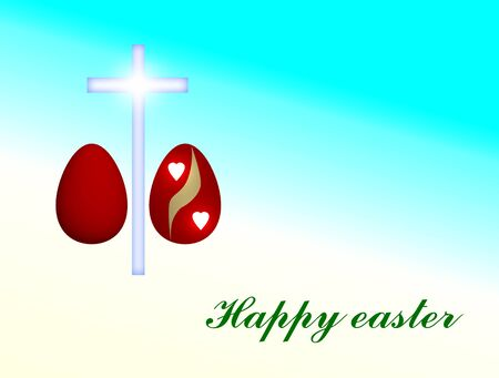 orthodoxy: happy Easter card - red eggs and cross illustration with turquoise background