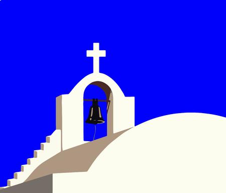Belfry vector of white chapel at Santorini island Greece