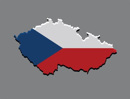 goverment: Czech Republic map vector with the czech flag