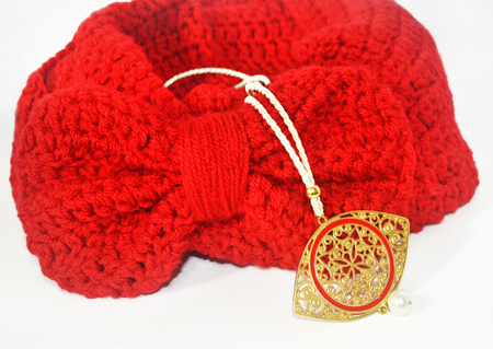 red scarf with bow and byzantine gold necklace