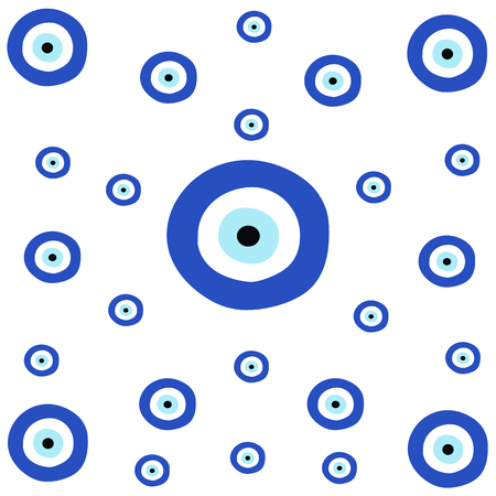 tileable texture with greek blue evil eye - symbol of protection