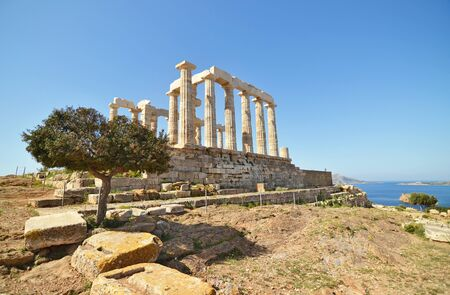 the temple of Poseidon at Cape Sounion Attica Greece Stock Photo