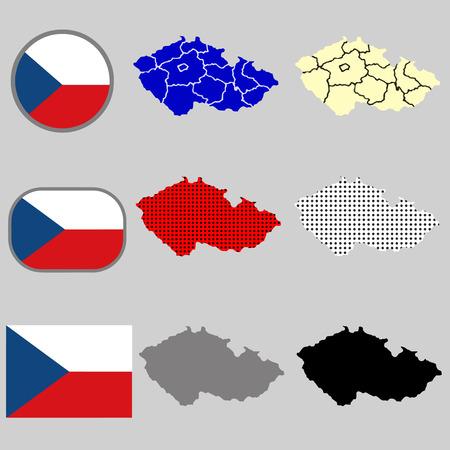 goverment: Czech Republic map vector with the czech flag - black silhouette - polka dots - vector set