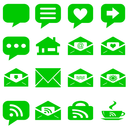 internet icons set - website green buttons vector - message icon