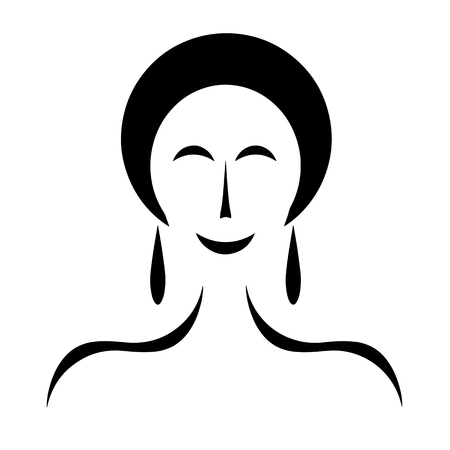 woman figure with black hair - fashion beauty concept
