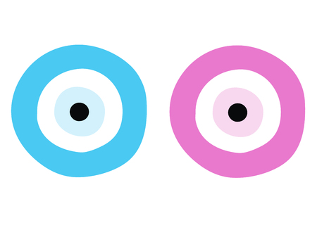 Blue and pink evil eye for boys and girls - greek symbol of protection