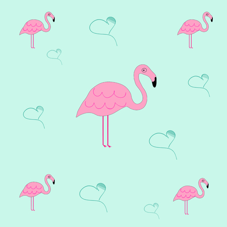 Naadloze tegelbare textuur met flamingo en harten - blauwe achtergrond Stock Illustratie