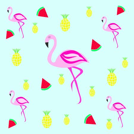 Naadloze tegelstructuur - Flamingo Met Ananas En Aardbeien