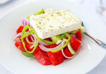 traditional greek salad with the white cheese feta at a tavern
