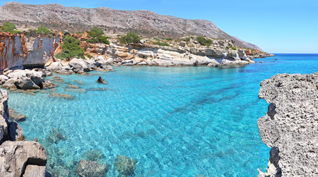 inaccessible: panoramic landscape - turquoise sea of Petrified Forest Lakonia Peloponnese Greece