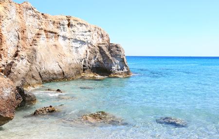 inaccessible: turquoise sea at Petrified Forest beach Lakonia Peloponnese Greece