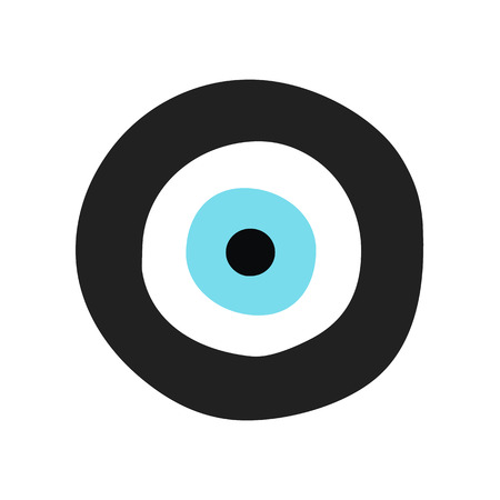 Traditional Greek Evil Eye In Black And Turquoise Color Symbol