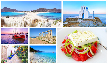 ionio: photo collage with greek summer photos - Elafonisos island, Sifnos, sunset boat, Cape Sounion, Hydra, Ithaca, greek salad