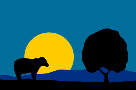moon shadow: nature illustration - night moon bear silhouette and tree with blue sky background Illustration