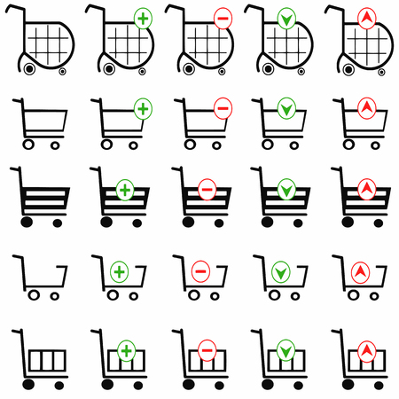 gift basket: shopping cart vector set on white background - online shopping icons