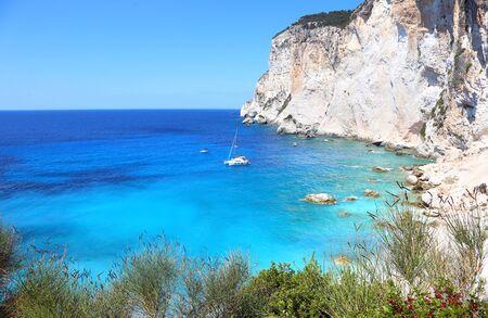 landscape of Erimitis beach Paxos Ionian islands Greece Stock Photo