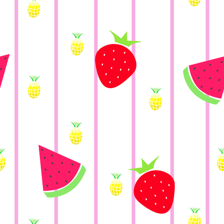 seamless tileable texture with fruits - watermelon, strawberry and pineapple vector illustration Illustration