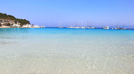 ionio: panoramic landscape of Voutoumi beach Antipaxos island Greece Stock Photo