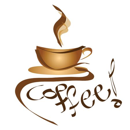 business graphics: coffee sign - logo cup of coffee - vector illustration Illustration