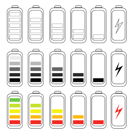 battery charge levels vector set