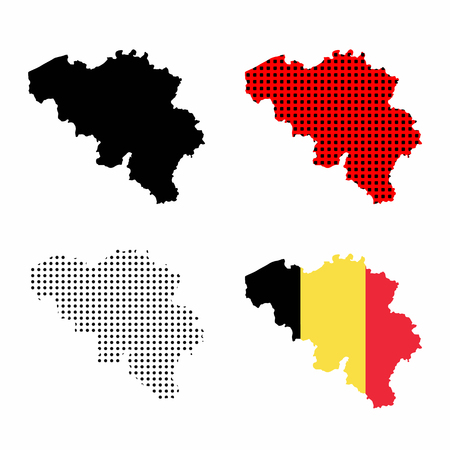 Belgium map vector set - belgian flag, silhouette map, map with polka dots